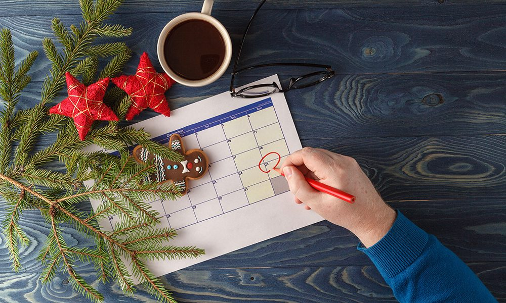 Ready to coming christmas. Calendar with marked date of christmas day
